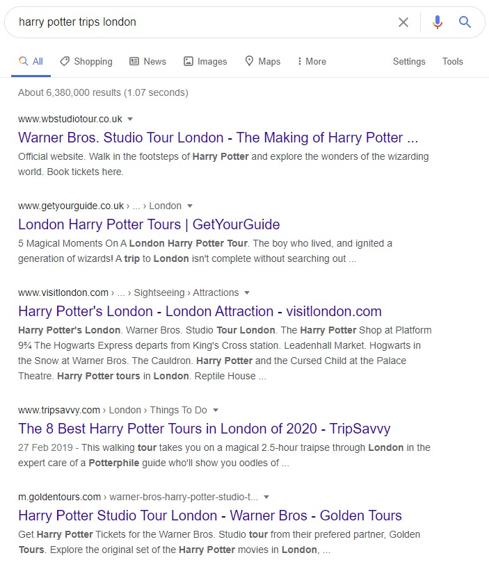 Example of the blue links in Google